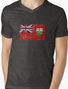 Ontario Flag - Vintage Look Mens V-Neck T-Shirt
