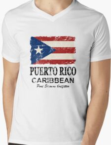 Puerto Rico Flag - Vintage Look Mens V-Neck T-Shirt