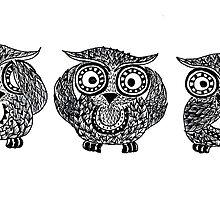 Owls come in threes by kookywear