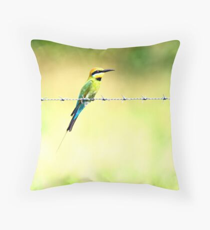 Bird on a wire - bee eater Throw Pillow