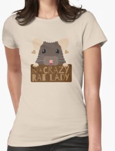 I'm a crazy Rat Lady more subtle cute rats face Womens Fitted T-Shirt