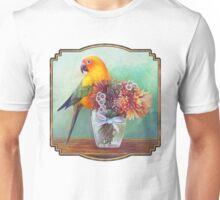 Sun conure and flowers Unisex T-Shirt