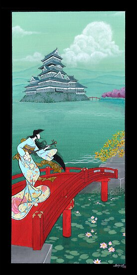Japanese Woman - Castle by Saing Louis