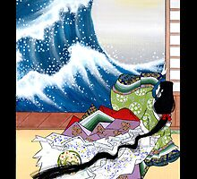 Japanese Woman - Great Wave by Saing Louis