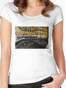 Where the Gondolas Go to Sleep - Bacino Orseolo, Venice, Italy Women's Fitted Scoop T-Shirt