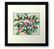 Holly and Snow Framed Print