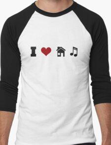 I Heart House Music  Men's Baseball ¾ T-Shirt