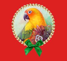 Sun conure and flowers Womens Fitted T-Shirt