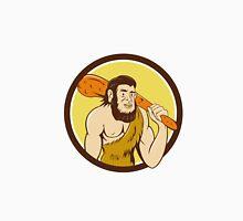 Neanderthal Man Holding Club Circle Cartoon Unisex T-Shirt