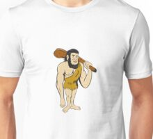 Caveman Neanderthal Man Holding Club Cartoon Unisex T-Shirt