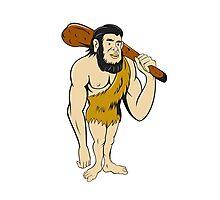 Caveman Neanderthal Man Holding Club Cartoon Photographic Print
