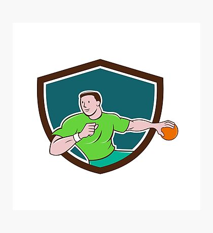 Handball Player Throwing Ball Crest Cartoon Photographic Print