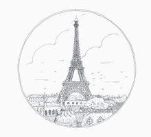 Paris Urban Sketch Illustration One Piece - Long Sleeve