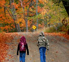 Kids walking on a dirt road in New England by bobbi7275