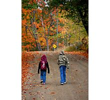 Kids walking on a dirt road in New England Photographic Print