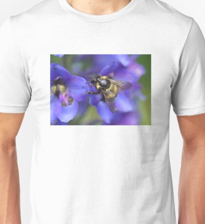 Bombus hortorum On Delphinium sp. Unisex T-Shirt