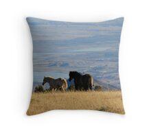 Two Pryor Mountain Wild Horses Enjoying the View Throw Pillow