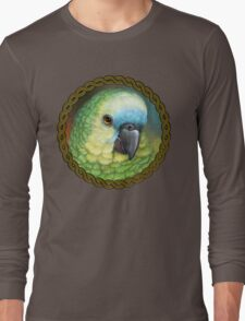 Blue fronted amazon parrot realistic painting Long Sleeve T-Shirt