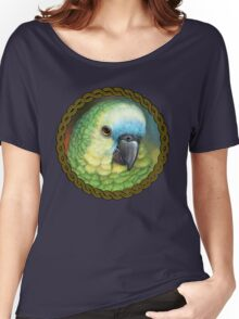 Blue fronted amazon parrot realistic painting Women's Relaxed Fit T-Shirt