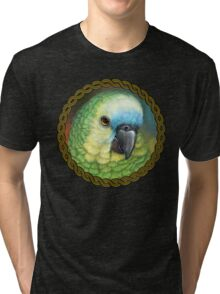 Blue fronted amazon parrot realistic painting Tri-blend T-Shirt