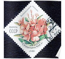 Flowers Soviet Union stamp series 1981 1981 Рододендрон Кочи USSR Poster