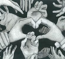 Hands Ink drawing by ArtLuver
