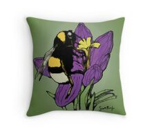 Bumblebee on a Flower Throw Pillow