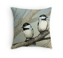 Two Chickadees in a Tree Throw Pillow