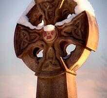 Sunlit Snowy Celtic Cross by DonDavisUK