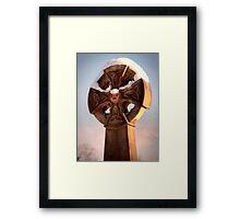 Sunlit Snowy Celtic Cross Framed Print