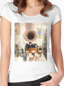 Retro Vintage Edison Cylinder Phonograph  Women's Fitted Scoop T-Shirt
