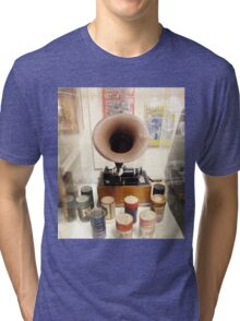 Retro Vintage Edison Cylinder Phonograph  Tri-blend T-Shirt