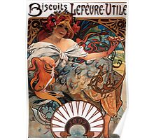 Poster 1890s Alfons Mucha 1896 Biscuits LefèvreUtile USSR Poster