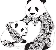 Giant Panda Bear & Cub With Roses Tattoo Pattern by redroadstudio