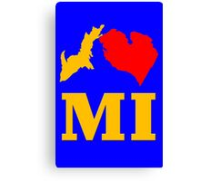 I mi i heart michigan maize blue womens geek funny nerd Canvas Print