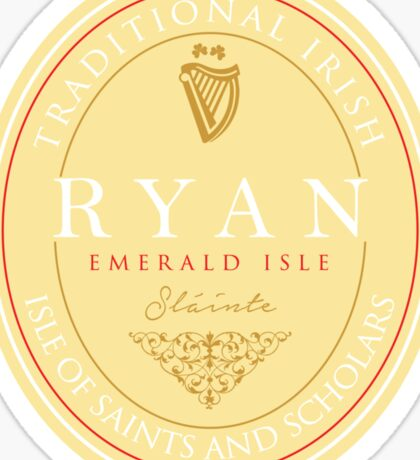 Irish Names Ryan Sticker
