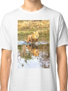 Lion in River with Reflection Classic T-Shirt