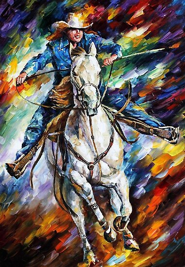 COWBOY- original art oil painting by Leonid Afremov by Leonid  Afremov