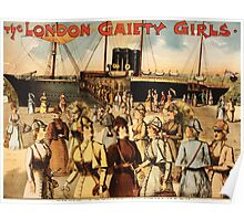 Poster 1890s The London gaiety girls their arrival in New York performing arts poster 1891 USSR Poster