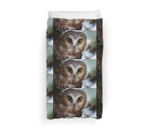 Northern Saw Whet Owl Portrait Duvet Cover
