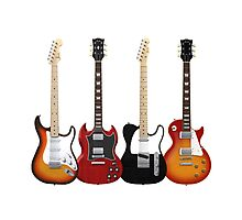 Four Electric Guitars Photographic Print