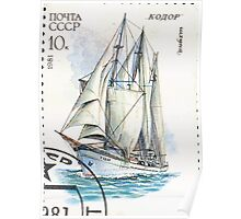 Sailing ships of the Soviet Union stamp series 1981 1981 Шхуна Кодор USSR Poster