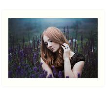 Portrait of a girl with lavendel Art Print