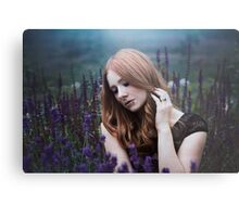 Portrait of a girl with lavendel Metal Print