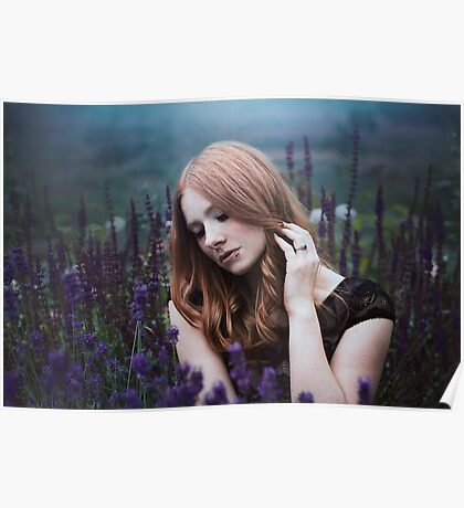 Portrait of a girl with lavendel Poster