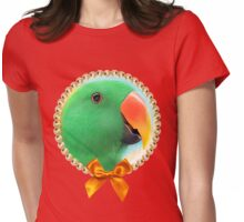 Green male eclectus parrot realistic painting Womens Fitted T-Shirt