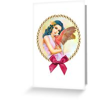 Blue haired elf and her galah Greeting Card