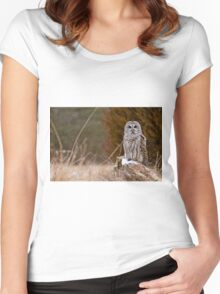 Barred Owl on log Women's Fitted Scoop T-Shirt