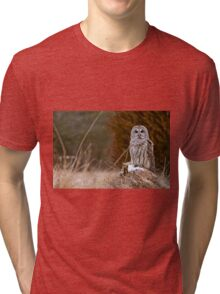 Barred Owl on log Tri-blend T-Shirt