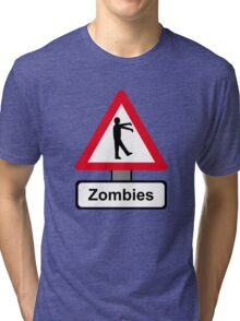 Caution: Zombies Tri-blend T-Shirt